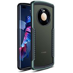 Huawei Mate 40 Pro用ハイブリットバンパーケース クリア透明 プラスチック 鏡面 カバー ファーウェイ グリーン