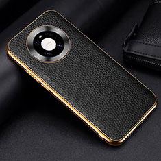 Huawei Mate 40 Pro用ケース 高級感 手触り良いレザー柄 S03 ファーウェイ ブラック