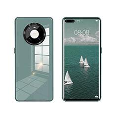 Huawei Mate 40 Pro用ハイブリットバンパーケース プラスチック 鏡面 カバー T01 ファーウェイ グリーン
