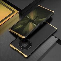 Huawei Mate 40 Pro用ケース 高級感 手触り良い アルミメタル 製の金属製 カバー T01 ファーウェイ ゴールド・ブラック