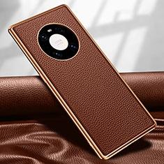 Huawei Mate 40 Pro用ケース 高級感 手触り良いレザー柄 R04 ファーウェイ ブラウン