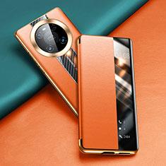 Huawei Mate 40 Pro用手帳型 レザーケース スタンド カバー T04 ファーウェイ オレンジ