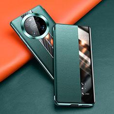 Huawei Mate 40 Pro用手帳型 レザーケース スタンド カバー T04 ファーウェイ グリーン