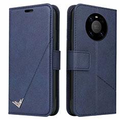 Huawei Mate 40 Pro用手帳型 レザーケース スタンド カバー K06 ファーウェイ ネイビー