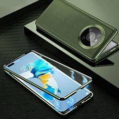 Huawei Mate 40 Pro用360度 フルカバー ケース 高級感 手触り良い アルミメタル 製の金属製 K01 ファーウェイ オレンジ