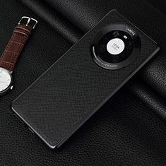 Huawei Mate 40 Pro用ケース 高級感 手触り良いレザー柄 K06 ファーウェイ ブラック