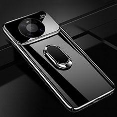 Huawei Mate 40 Pro用ハードケース プラスチック 質感もマット アンド指輪 マグネット式 K01 ファーウェイ ブラック
