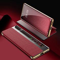 Huawei Mate 40 Pro用手帳型 レザーケース スタンド カバー K07 ファーウェイ ワインレッド