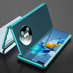 Huawei Mate 40 Pro用360度 フルカバー ケース 高級感 手触り良い アルミメタル 製の金属製 K04 ファーウェイ シアン