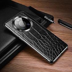 Huawei Mate 40 Pro用ケース 高級感 手触り良いレザー柄 K05 ファーウェイ ブラック