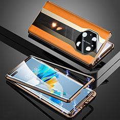 Huawei Mate 40 Pro用360度 フルカバー ケース 高級感 手触り良い アルミメタル 製の金属製 K03 ファーウェイ オレンジ