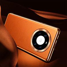Huawei Mate 40 Pro+ Plus用ケース 高級感 手触り良いレザー柄 S08 ファーウェイ オレンジ
