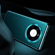 Huawei Mate 40 Pro+ Plus用ケース 高級感 手触り良いレザー柄 S08 ファーウェイ シアン