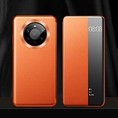 Huawei Mate 40 Pro+ Plus用手帳型 レザーケース スタンド カバー L12 ファーウェイ オレンジ