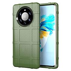 Huawei Mate 40 Pro+ Plus用360度 フルカバー極薄ソフトケース シリコンケース 耐衝撃 全面保護 バンパー ファーウェイ オリーブグリーン