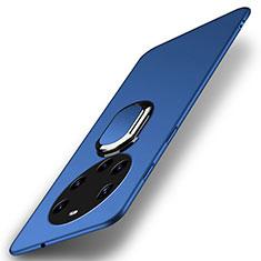 Huawei Mate 40 Pro+ Plus用ハードケース プラスチック 質感もマット アンド指輪 マグネット式 A01 ファーウェイ ネイビー