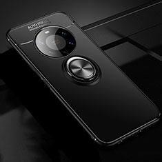 Huawei Mate 40 Pro+ Plus用極薄ソフトケース シリコンケース 耐衝撃 全面保護 アンド指輪 マグネット式 バンパー ファーウェイ ブラック