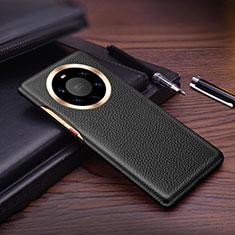 Huawei Mate 40 Pro+ Plus用ケース 高級感 手触り良いレザー柄 L01 ファーウェイ ブラック