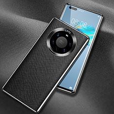 Huawei Mate 40 Pro+ Plus用ケース 高級感 手触り良いレザー柄 L02 ファーウェイ ブラック