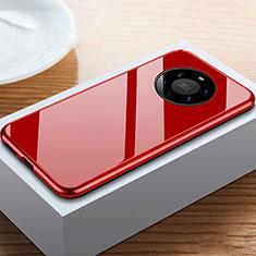 Huawei Mate 40 Pro+ Plus用ケース 高級感 手触り良い アルミメタル 製の金属製 360度 フルカバーバンパー 鏡面 カバー M02 ファーウェイ レッド