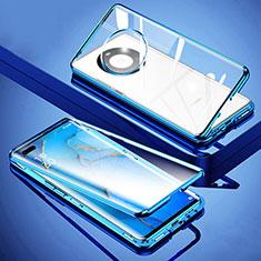 Huawei Mate 40 Pro+ Plus用ケース 高級感 手触り良い アルミメタル 製の金属製 360度 フルカバーバンパー 鏡面 カバー M01 ファーウェイ ネイビー