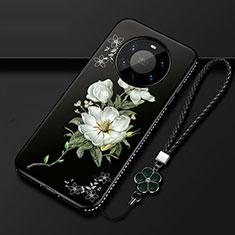 Huawei Mate 40 Pro+ Plus用シリコンケース ソフトタッチラバー 花 カバー ファーウェイ ブラック