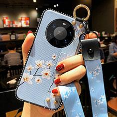 Huawei Mate 40 Pro+ Plus用シリコンケース ソフトタッチラバー 花 カバー S01 ファーウェイ ライトブルー
