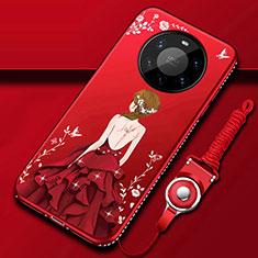 Huawei Mate 40 Pro+ Plus用シリコンケース ソフトタッチラバー バタフライ ドレスガール ドレス少女 カバー ファーウェイ レッド