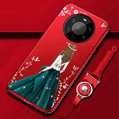 Huawei Mate 40 Pro+ Plus用シリコンケース ソフトタッチラバー バタフライ ドレスガール ドレス少女 カバー ファーウェイ グリーン