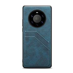 Huawei Mate 40 Pro+ Plus用ケース 高級感 手触り良いレザー柄 R01 ファーウェイ ネイビー