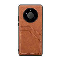 Huawei Mate 40 Pro+ Plus用ケース 高級感 手触り良いレザー柄 R01 ファーウェイ ブラウン