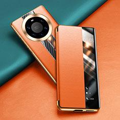 Huawei Mate 40 Pro+ Plus用手帳型 レザーケース スタンド カバー T02 ファーウェイ オレンジ