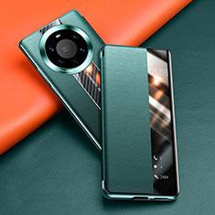 Huawei Mate 40 Pro+ Plus用手帳型 レザーケース スタンド カバー T02 ファーウェイ グリーン