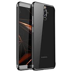 Huawei Mate 9 Pro用極薄ソフトケース シリコンケース 耐衝撃 全面保護 クリア透明 H01 ファーウェイ ブラック