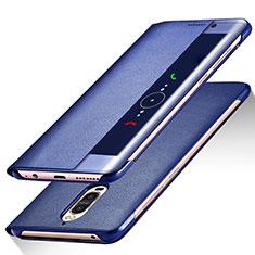 Huawei Mate 9 Pro用手帳型 レザーケース スタンド ファーウェイ ネイビー