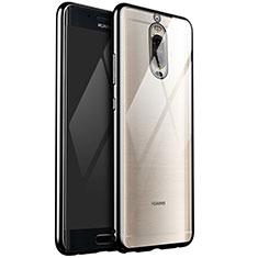 Huawei Mate 9 Pro用極薄ソフトケース シリコンケース 耐衝撃 全面保護 クリア透明 H02 ファーウェイ ブラック