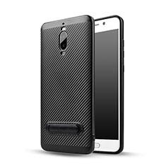 Huawei Mate 9 Pro用シリコンケース ソフトタッチラバー ツイル ともにホルダー ファーウェイ ブラック
