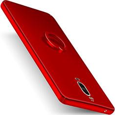 Huawei Mate 9 Pro用ハードケース プラスチック 質感もマット アンド指輪 ファーウェイ レッド