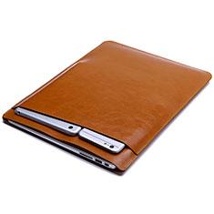 Huawei Matebook D15 (2020) 15.6用高品質ソフトレザーポーチバッグ ケース イヤホンを指したまま L01 ファーウェイ オレンジ