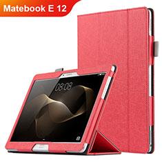 Huawei Matebook E 12用手帳型 レザーケース スタンド ファーウェイ レッド