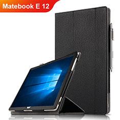 Huawei Matebook E 12用手帳型 レザーケース スタンド ファーウェイ ブラック