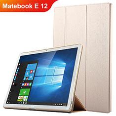 Huawei Matebook E 12用手帳型 レザーケース スタンド ファーウェイ ゴールド