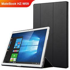 Huawei MateBook HZ-W09用手帳型 レザーケース スタンド ファーウェイ ブラック