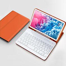 Huawei MatePad 10.8用手帳型 レザーケース スタンド アンド キーボード ファーウェイ オレンジ
