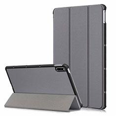 Huawei MatePad 5G 10.4用手帳型 レザーケース スタンド カバー L06 ファーウェイ グレー