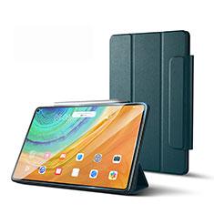 Huawei MatePad Pro 5G 10.8用手帳型 レザーケース スタンド カバー L01 ファーウェイ モスグリー