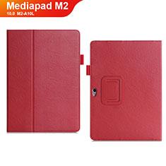 Huawei MediaPad M2 10.0 M2-A10L用手帳型 レザーケース スタンド カバー ファーウェイ レッド