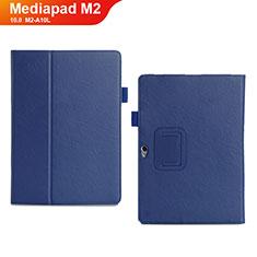 Huawei MediaPad M2 10.0 M2-A10L用手帳型 レザーケース スタンド カバー ファーウェイ ネイビー