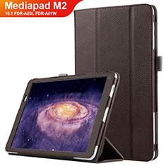 Huawei MediaPad M2 10.1 FDR-A03L FDR-A01W用手帳型 レザーケース スタンド ファーウェイ ブラウン