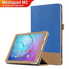 Huawei MediaPad M2 10.1 FDR-A03L FDR-A01W用手帳型 レザーケース スタンド L01 ファーウェイ ネイビー